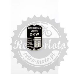 Tabliczka znamionowa DKW 100 ccm RT I INNE TYP 1