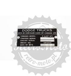 Tabliczka znamionowa DODGE TRUCK TYP 2