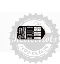 Tabliczka znamionowa JAWA 350 TYNEC N.S. NAPIS RUS