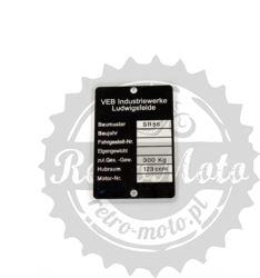 Tabliczka znamionowa SIMSON SR56 VEB SUHL