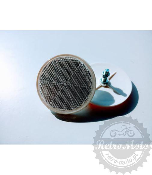Odblask BIALY fi60 okrągły ze śrubką HOMOL. E20